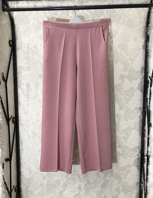 Pantallona krem i plote ngjyre roze me prerje klasike