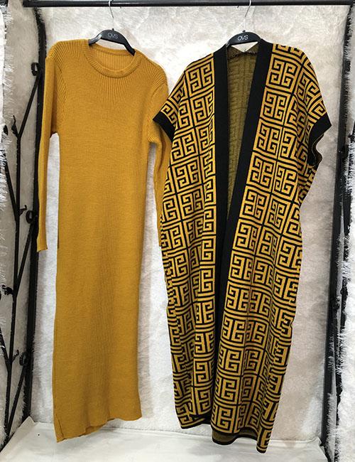 Fustan+triko ngjyre mustarde